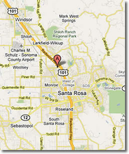 Map to Santa Rosa Bartending